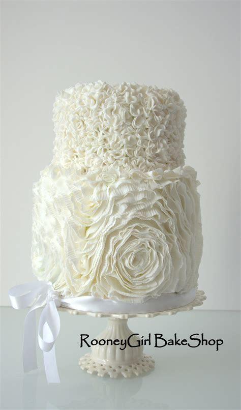 Ruffle Rose And Pompom Wedding Cake   CakeCentral.com