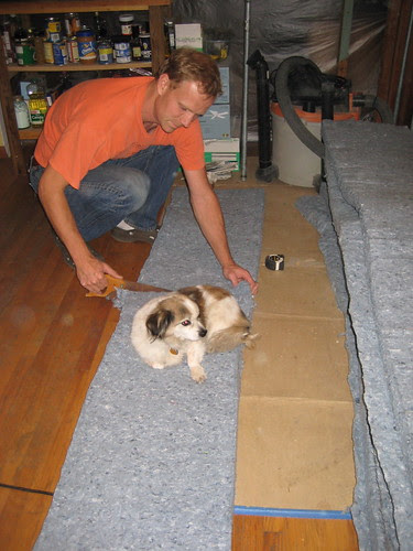 Nigel helps install insulation