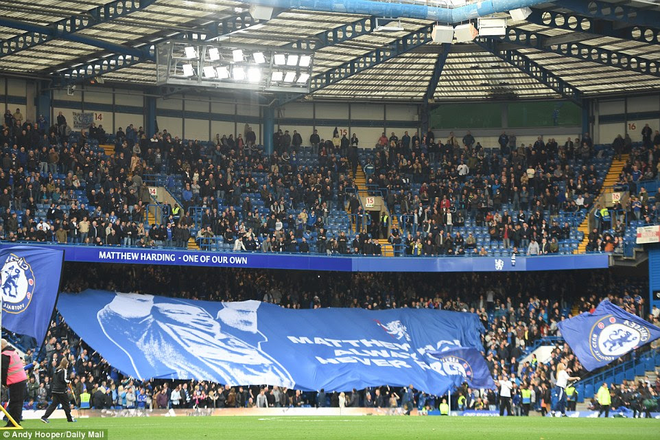 A banner is displayed in the stands at Stamford Bridge in tribute to Chelsea's former vice-chairman Matthew Harding