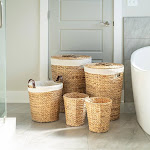 Water Hyacinth 5-piece Hamper & Bath Set, Light Brown