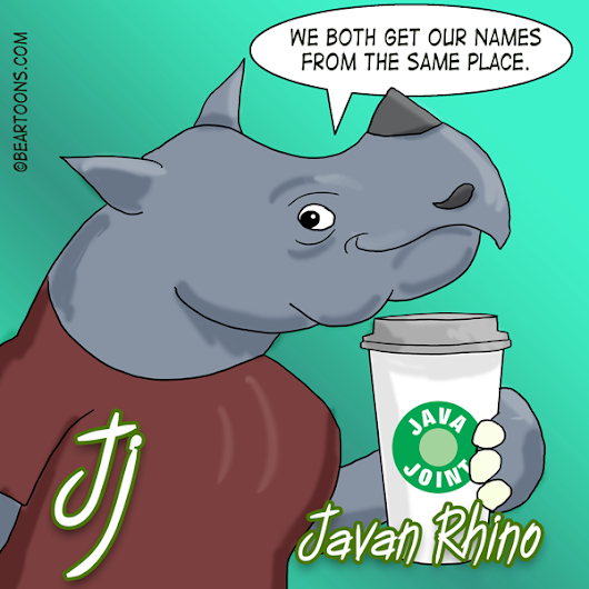 J is for Javan Rhino - Bearman Cartoons