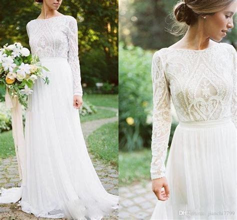 Discount Bohemian Wedding Dress With Long Sleeves Elegant