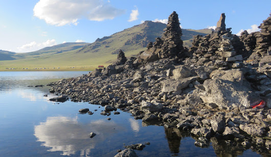Shamanistic Ovoos Surround a Mile-High Mongolian Lake