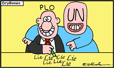 Dry Bones cartoon, PLO, UN, United Nations, Jordan, Lies, Palestine, Israel,