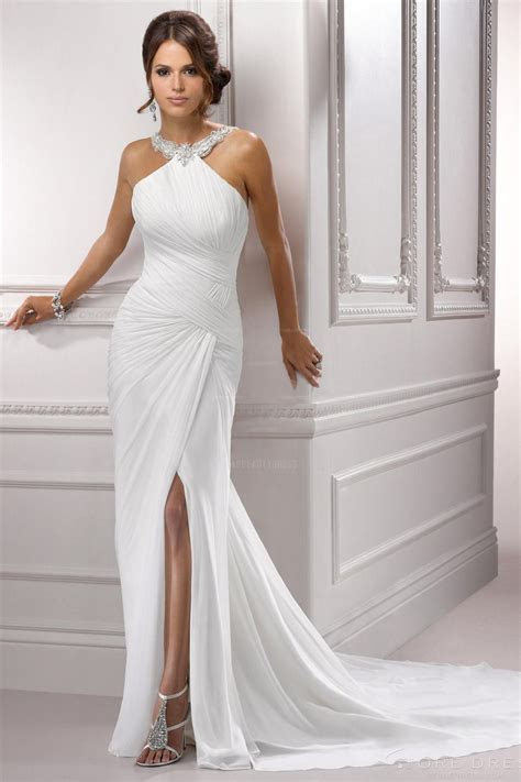 Sheath Halter Court Train Chiffon Wedding Dress   Cute Dresses