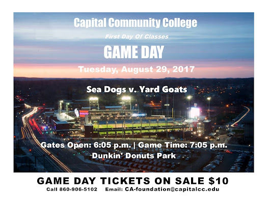 Tickets On Sale For Capital Community College Game Day August 29th — Yard Goats vs. Sea Dogs Baseball At Dunkin' Donuts Park