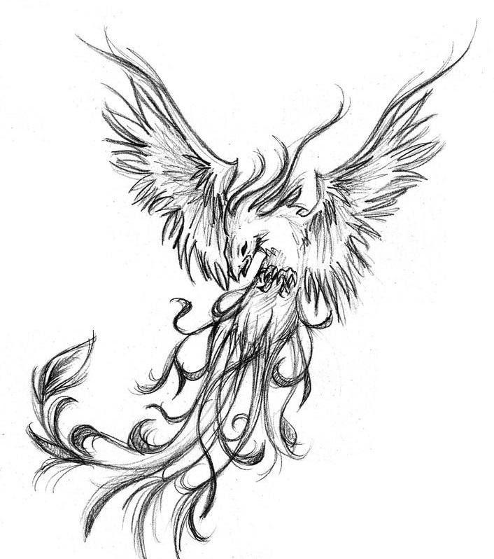 Grey And Black Phoenix Tattoo Design