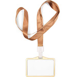 10 Pack ID Badge Holders with Lanyard, 3.6 x 2.6 inches Horizontal Gold Aluminum Name Tag Card Slot Protector for Security Pass, Credit Card,