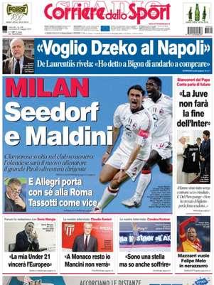 Capa do jornal Corriere dello Sport aponta que Seedorf será o próximo técnico do Milan; agente do jogador não confirma Foto: Corriere dello Sport / Reprodução