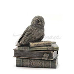 Veronese Design WU75510A4 Snow Owl on Books Trinket Box Bronze Color