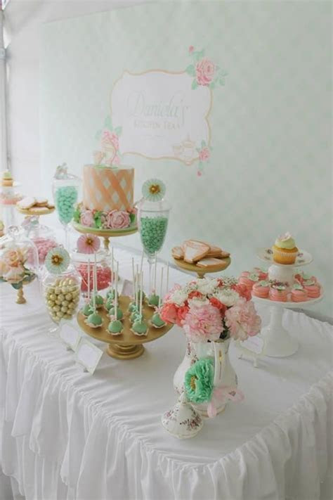 Mint Pink Gold Tea Party Planning Ideas Supplies Idea Cake