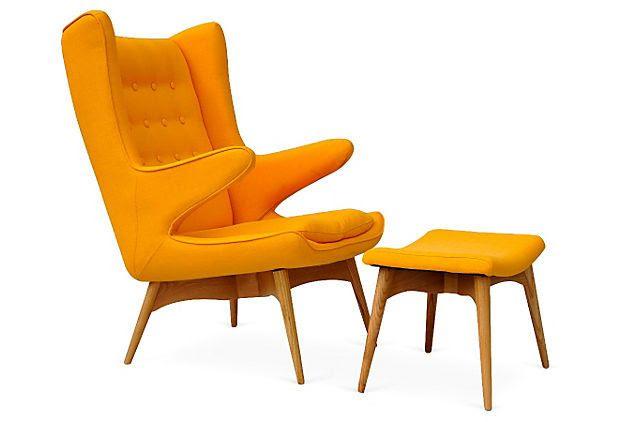 Jonis Armchair and Ottoman, Yellow on OneKingsLane.com