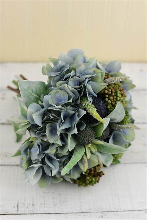 Blue Hydrangea, Thistle, Lambs Ear Bouquet 11in