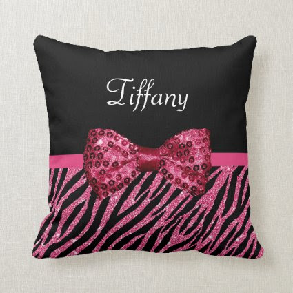 Chic Pink Glitter Zebra Print Luxe Bow With Name Pillow