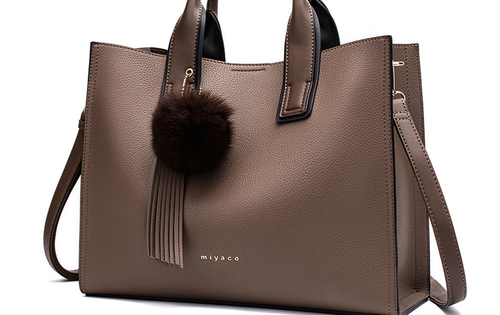 388e74d0920b Miyaco Women Leather Handbags Casual Brown Tote bags Crossbody Bag TOP-handle  bag With Tassel and fluffy ball