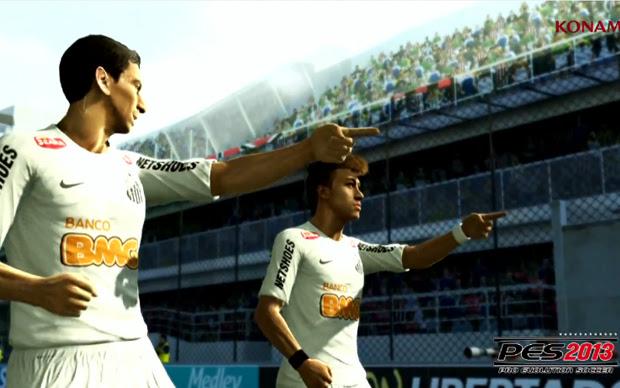 Ganso e Neymar comemoram gol no estádio da Vila Belmiro (Foto: Reprodução)