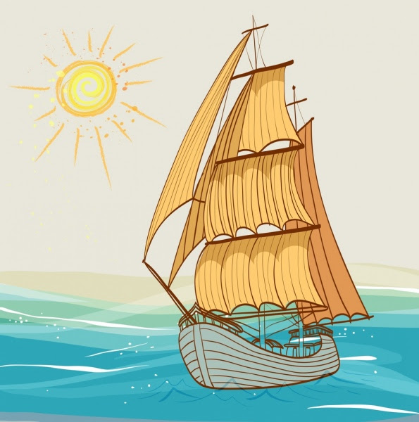 Kapal Laut Berjemur Ikon Warna Warni Handdrawn Sketsa Gambar Vektor