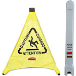 Rubbermaid Commercial Products Pop-Up Safety - Sign - slippery surface - cone - 20 in (height) - floor-standing - yellow