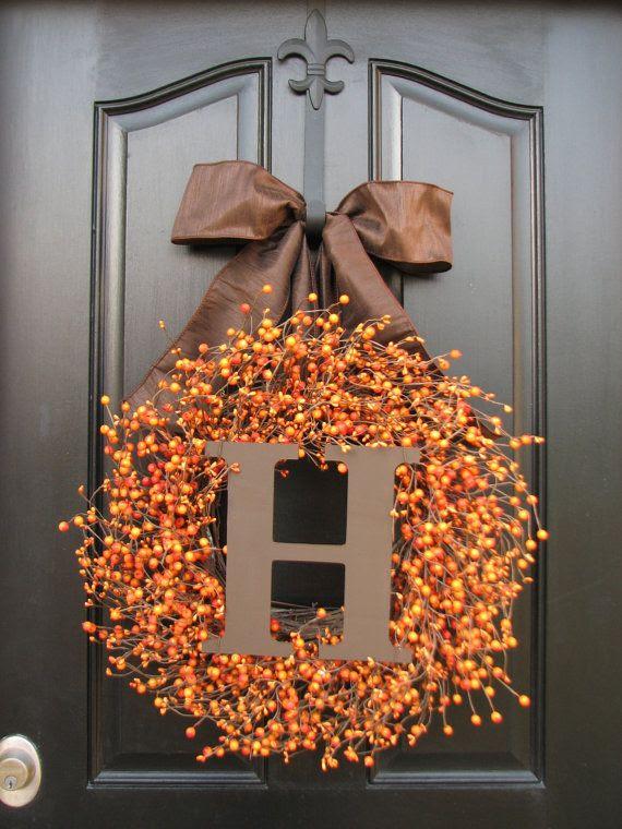 Thanksgiving Decor, Thanksgiving Dinner, Jack O Lantern, Pumpkin Orange Berry Wreath, Pumpkin Pie, Custom Wreath, Front Door Wreaths on Etsy, $105.00