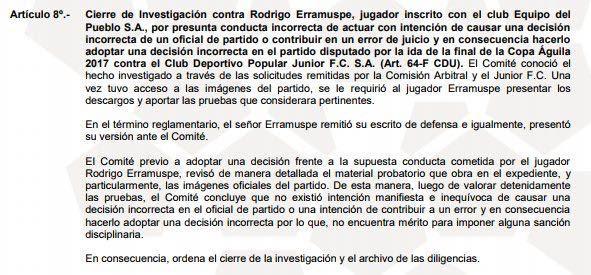 Resolución de la Dimayor por caso Erramuspe.
