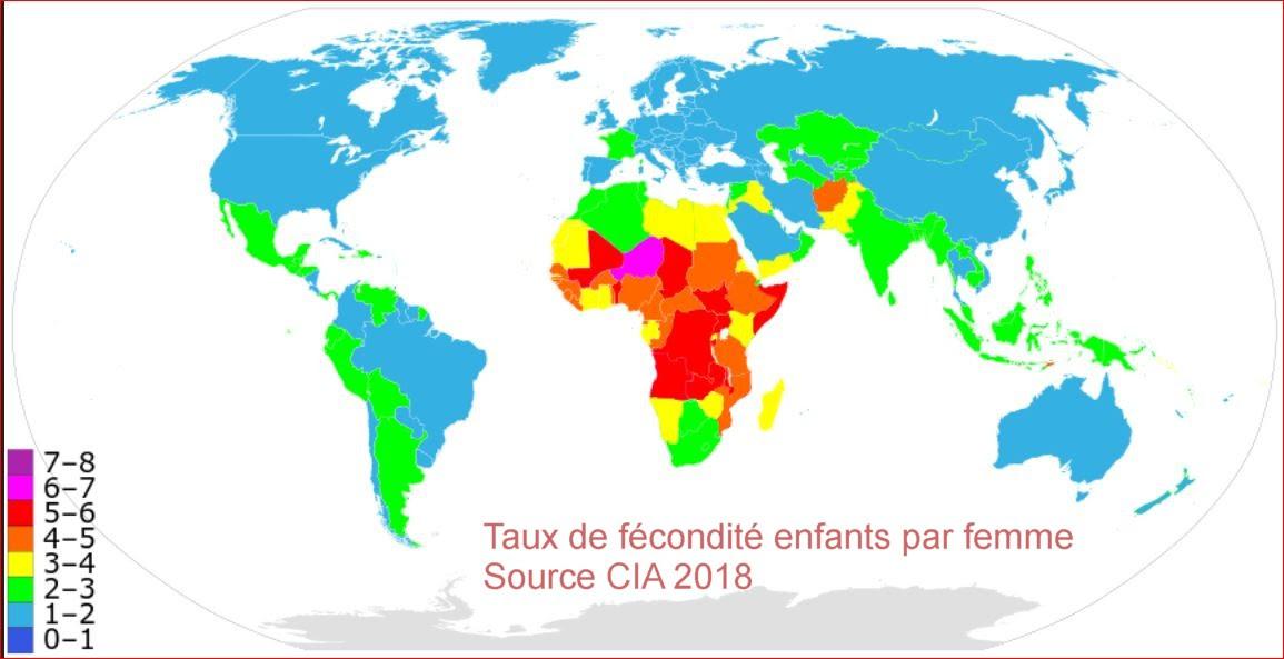 taux de fécondité dans le monde