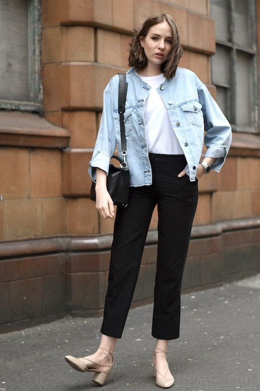 Le Fashion Blog Casual Chic Blogger Style Jean Jacket White Tee Shirt Loewe Bag Black Cropped Pants Nude Aquazurra Lace Up Chunky Heels Via Shot From The Street