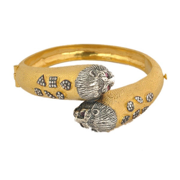 Lion Cuff Bangle Bracelet Gold Filled 925 Sterling Silver Jewelry