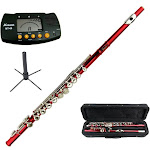 Merano Red Flute with Carrying Case+Metro Tuner+Stand
