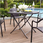 Pemberly Row Outdoor Wicker Folding Table, Brown