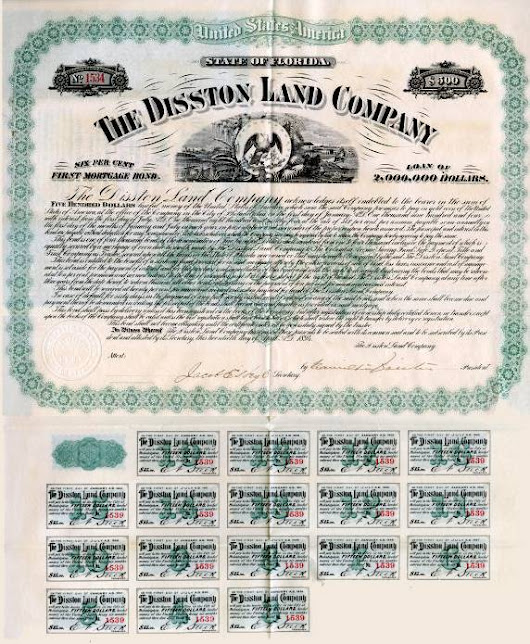 Scripophily.com is Now Offering a Bond Certificate from the Hamilton Disston Land Company who Failed to Drain the Swamp and Founder is said to have Committed Suicide