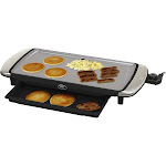 Oster DuraCeramic Titanium Infused Electric Griddle with Warming Tray, Silver