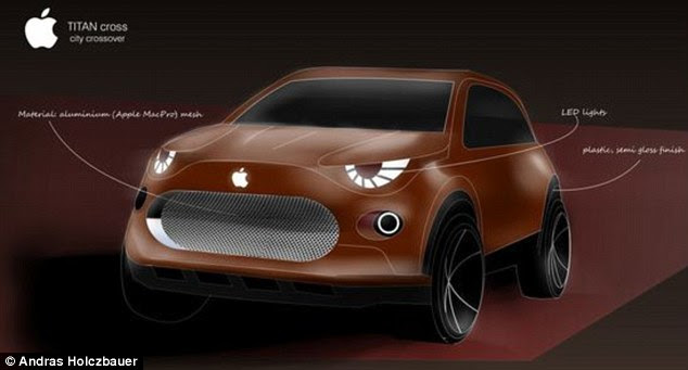 This graphic designer thinks the iCar could be a sports utility vehicle, which he designed in red using aluminium for the front