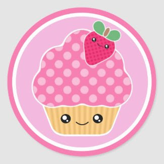 Pink Strawberry Kawaii Cupcake Stickers sticker