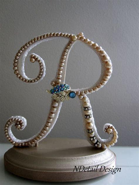 Monogrammed Custom Vintage Pearl Wedding Cake by