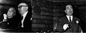 Αριστερά ο Αθανασιάδης Νόβας, δίπλα ο Στεφ. Στεφανόπουλος και δεξιά ο Κ. Μητσοτάκης στη Βουλή. Ο Γεώργις Αθανασιάδης Νόβας υπήρξε  Αντιπρόεδρος του Υπουργικού Συμβουλίου και ο Κωνσταντίνος Μητσοτάκης ήταν Υπουργός Συντονισμού, στην Κυβέρνηση Στεφ. Στεφανόπουλου
