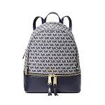 Rhea Medium Logo Jacquard Backpack, MICHAEL Michael Kors, Ivory/Blue
