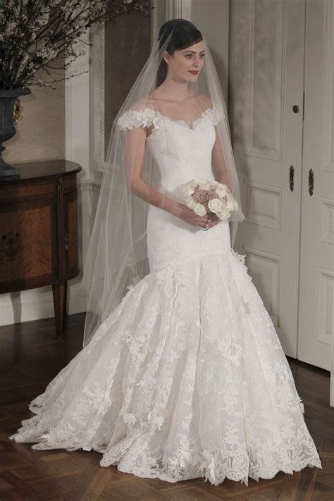 Off the shoulder drop waist mermaid wedding dress with