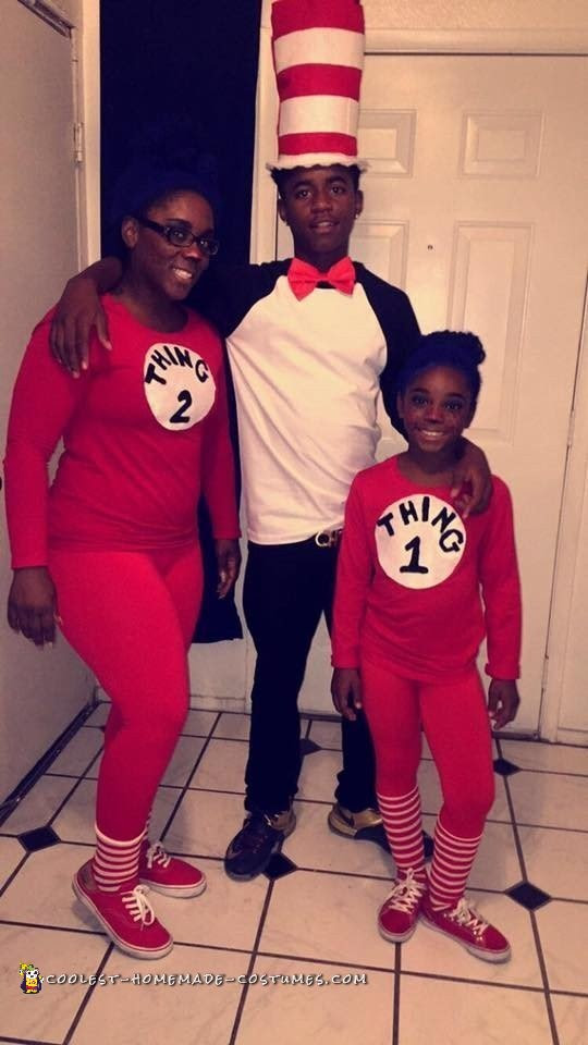 Mom Daughter And Son Cat In The Hat Family Costumes