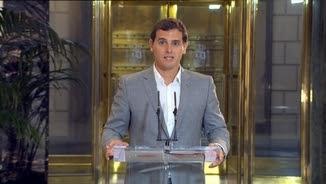 Albert Rivera, donant explicacions a la premsa després de la reunió amb Rajoy