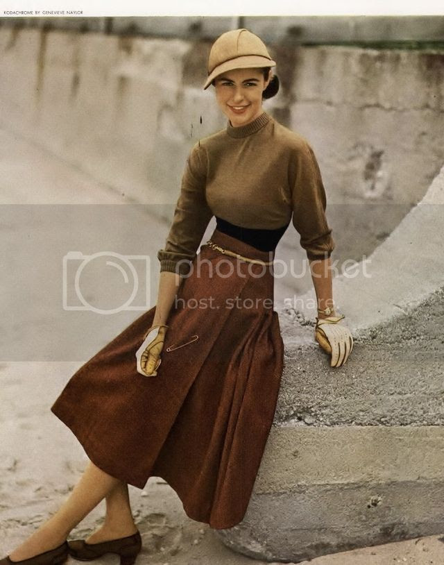 e12da108e Rouse your knits from their long summer slumber and put them to work with a  classic a-line or circle skirt, as in this great late 40s look that draws  its ...