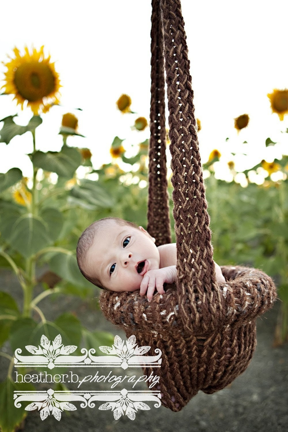 My Pride and Joy.....The ORIGINAL Knitted Hanging Baby Basket Photo Prop.....Caramel Chocolate Bar.....015HBB.....Copyright Product.....Can ONLY Purchase From Me
