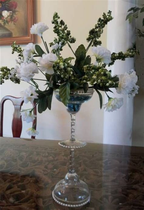 Martini glass pearl centerpiece. I made this by gluing two