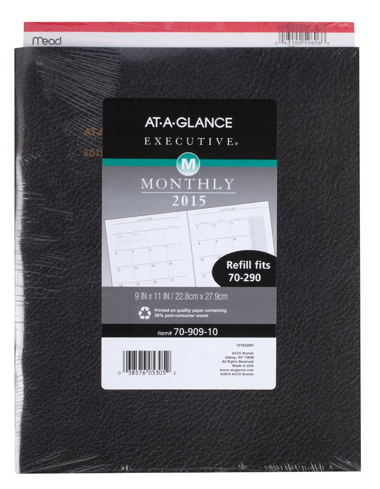 Amazon.com : AT-A-GLANCE 7090910 Executive Monthly Padfolio Refill ...