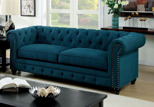 Stanford Sofa in Dark Teal by Furniture of America