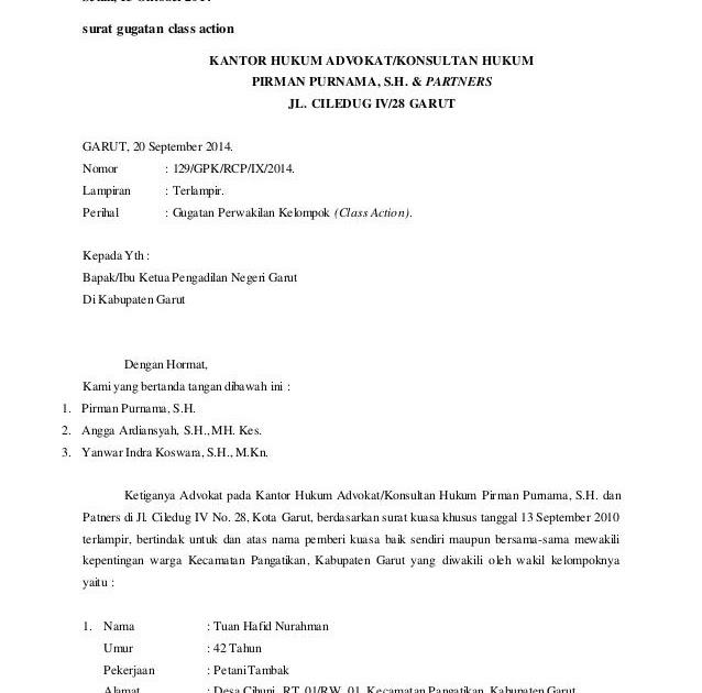 Contoh Surat Gugatan Class Action Bertemuco