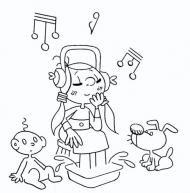 Dibuix d'una nena escoltant música