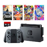 Nintendo Swtich 6 items Deluxe Game Bundle:Nintendo Switch 32GB Console Gray Joy-con, 64GB Micro SD Memory Card The Legend of Zelda: Breath of the Wi