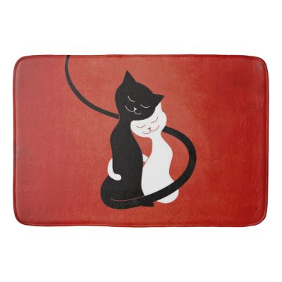 Red Hugging Love Cats Bath Mats