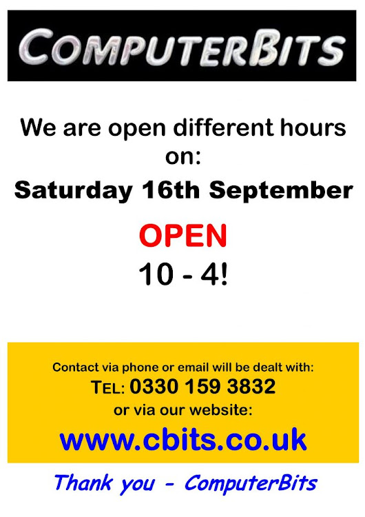 ComputerBits Blog  » Blog Archive   » Reduced hours on Saturday 16th September