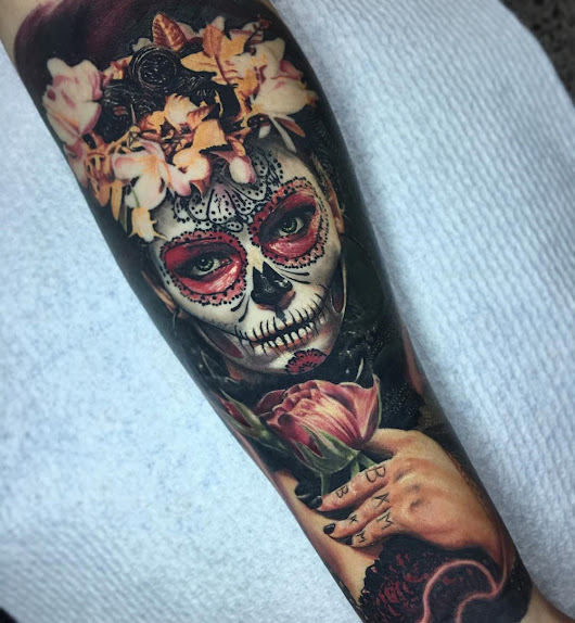 Flowery Day of the Dead Forearm Piece | Tattoo Ideas